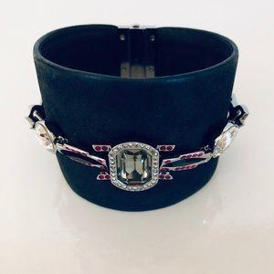 Swarovski Crystal Embellished leather cuff